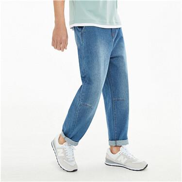 纯棉宽松直筒中腰牛仔长裤