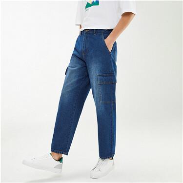 纯棉工装口袋直筒中腰牛仔长裤