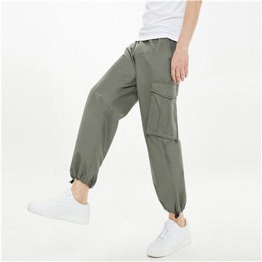纯棉工装可束脚薄休闲九分裤