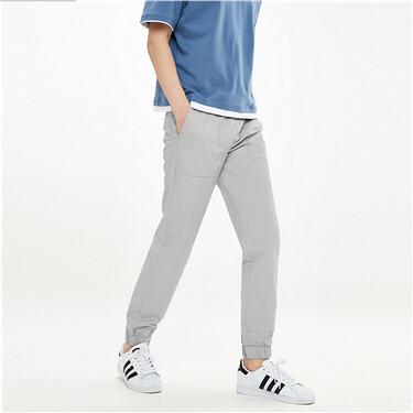 男裝純棉工裝貼袋束腳薄休閒長褲