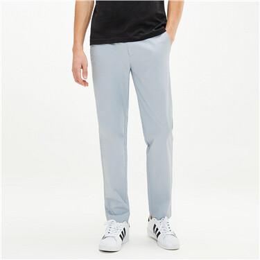 弹力棉纯色中低腰薄休闲长裤