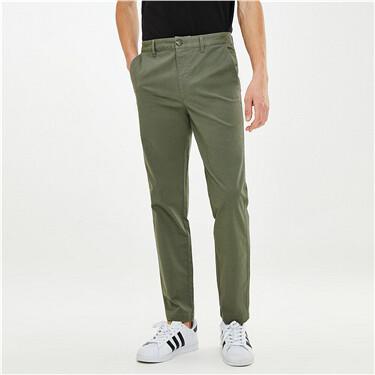 男裝彈力棉純色中低腰薄休閒長褲
