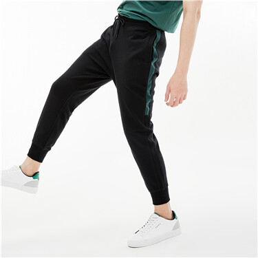 Men's French Terry Mid rise Slim Tapered Drawstring Pants