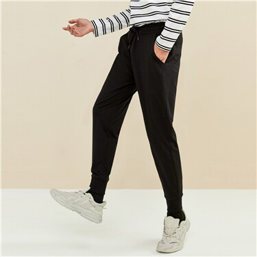 Men's Spandex Jersey Mid rise Slim Tapered Drawstring Pants
