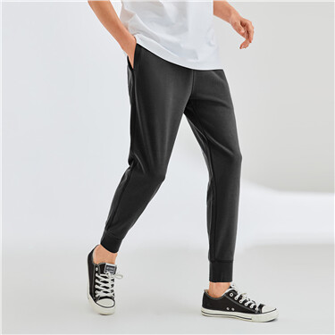 Solid color elastic waistband joggers