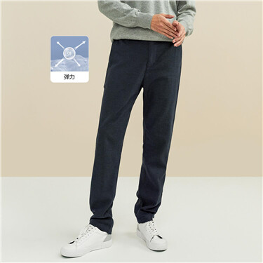 Plaid mid-rise elastic waistband pants