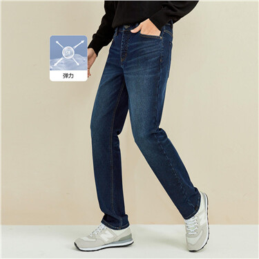 黑科技Q暖绒厚实修身牛仔长裤