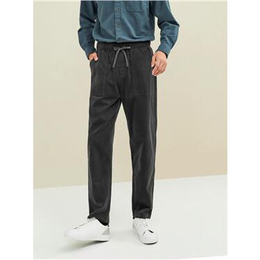 Corduroy elastic waistband straight pants