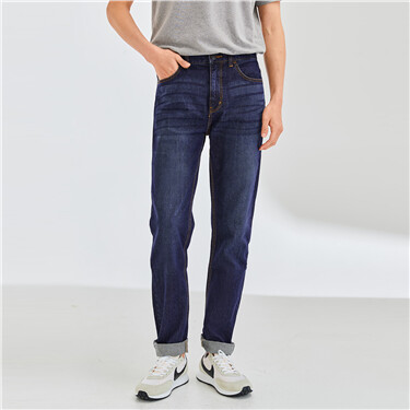 Mid rise regular tapered jeans