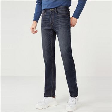 弹力棉修身窄脚牛仔裤