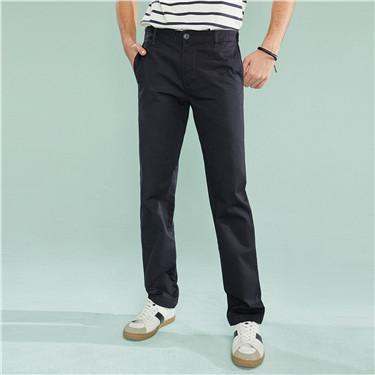 简约素色纯棉修身窄脚休闲裤