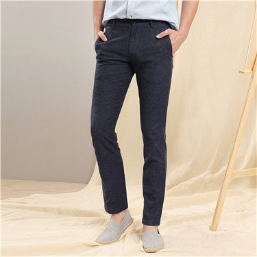 Linen-cotton slim tapered casual pants