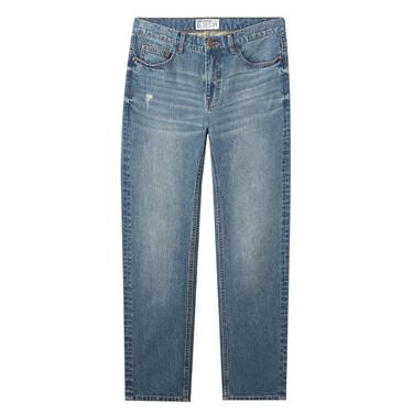 男裝低腰彈力刷色窄管牛仔褲