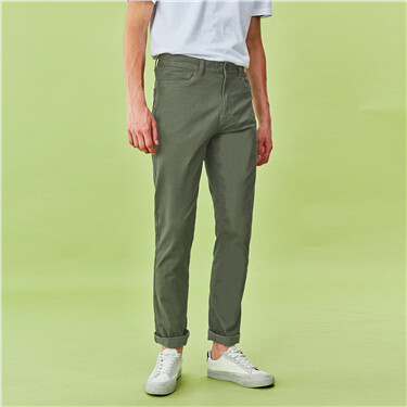 Stretchy mid rise regular tapered khakis