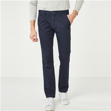 纯色纯棉修身休闲长裤