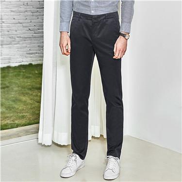 不易皱弹力棉修身休闲长裤