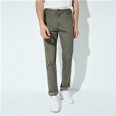 Stretch low rise slim tapered khakis