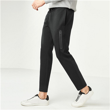 Interlocked embossed zip casual pants