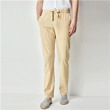 Linen drawstring tapered pants