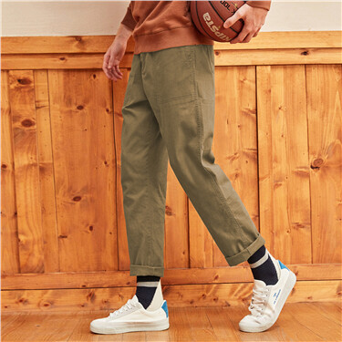 Stretchy slant pockets straight pants