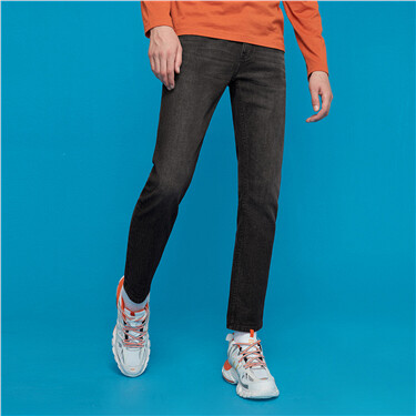 Stretchy moustache effect denim jeans