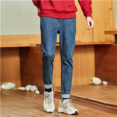 Mid rise five-pocket style denim jeans