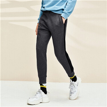 Contrast-color drawstring joggers