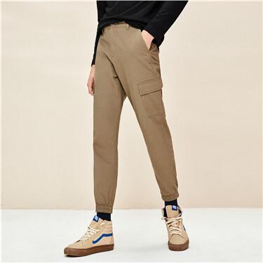 男裝彈力棉多口袋束腳工裝長褲