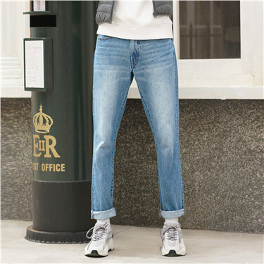 Stonewashed moustache effect straight jeans