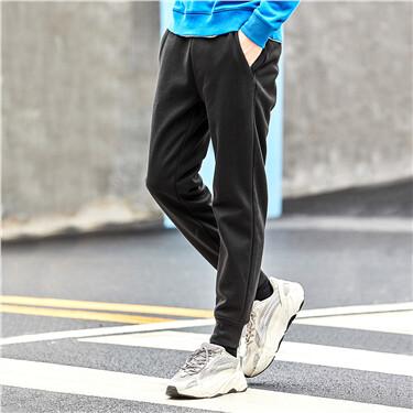 抽绳松紧腰素色加绒束脚慢跑裤