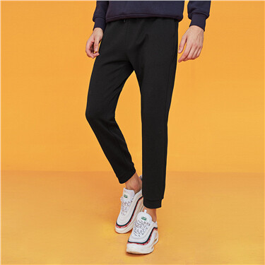Interlock elastic waistband casual pants