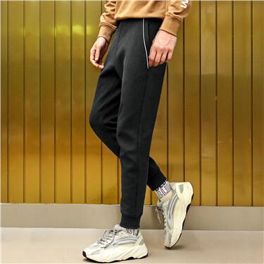 双面布反光边运动束脚裤