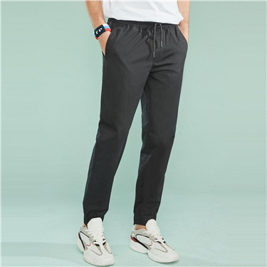 Cotton elastic waist jogger pants