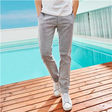 Linen-cotton low rise casual pants