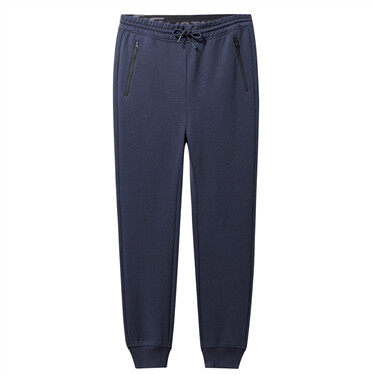 Double knit zip fly pockets banded cuffs joggers
