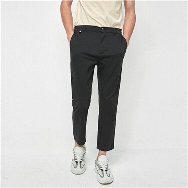 Plain slim ankle-length pants