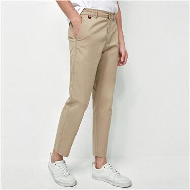 Plain slim ankle-length pants