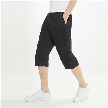 【網上獨家】男裝工裝輕薄抽繩鬆緊腰七分褲