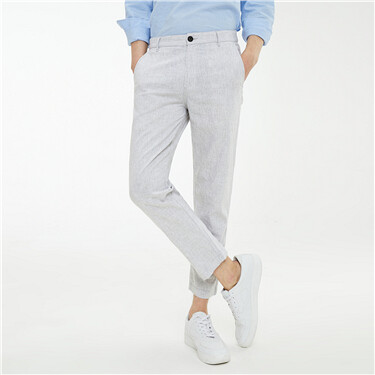 Linen-cotton mid-rise ankle-length pants