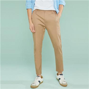 简约素色弹力棉可卷脚休闲九分裤