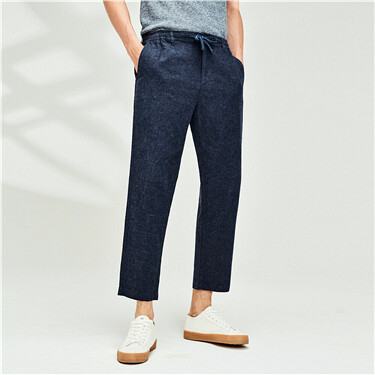 Linen-cotton thin ankle-length pants