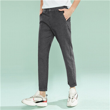 Elastic solid ankle-length casual pants