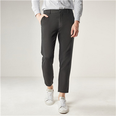 Solid slim casual ankle-length pants