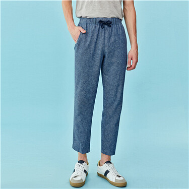 Linen-Cotton Casual Ankle-Length Pants