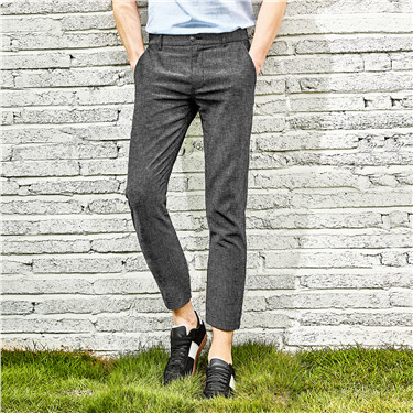 Linen-cotton mid-low rise ankle-length pants