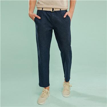 Linen-cotton mid-low rise ankle-length pants