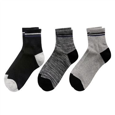 Contrast quarter socks (3-pair