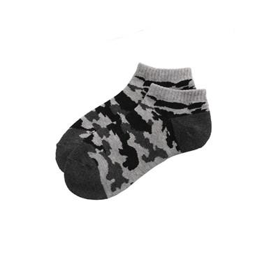 撞色條紋圖案毛圈底防滑短襪(2對裝)