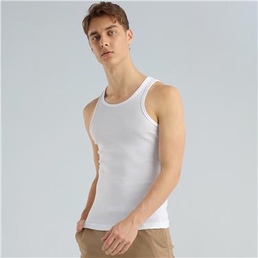 男裝三件裝純綿U領背心底衫