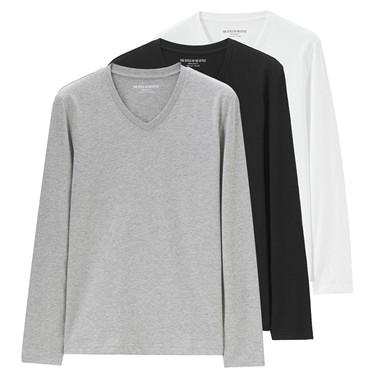 Solid crewneck basic long sleeve tees (3-packs)